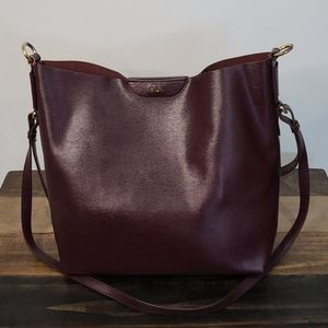 Ralph Lauren Deep Burgundy/Wine Tate Hobo
